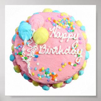 Poster de la torta del feliz cumpleaños póster