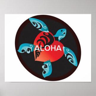 Poster de la tortuga 4 de la hawaiana de Hawaii