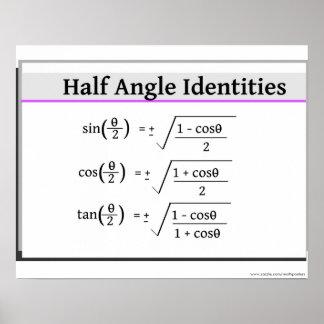 Poster de la trigonometría: Medias identidades del