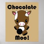 Poster de la vaca del MOO Kawaii del chocolate