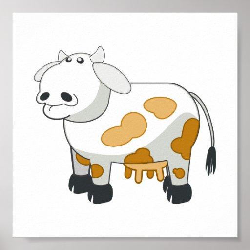 Poster de la vaca lechera del dibujo animado