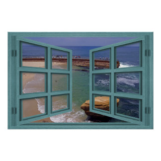 Poster de la ventana abierta del cristal de la pla
