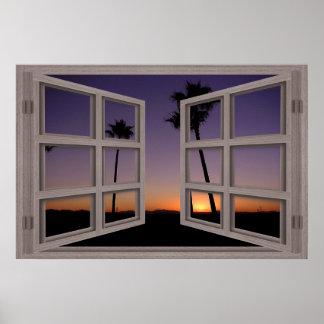 Poster de la ventana abierta del cristal de la pue