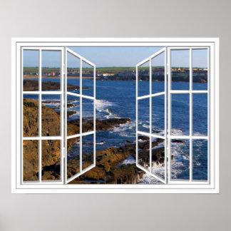 Poster de la ventana abierta del cristal del blanc