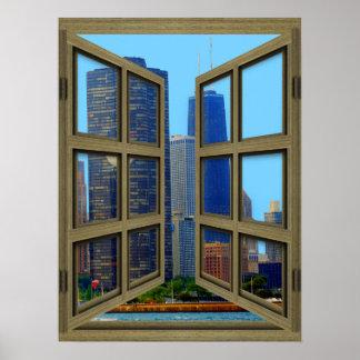 Poster de la ventana abierta del cristal del horiz