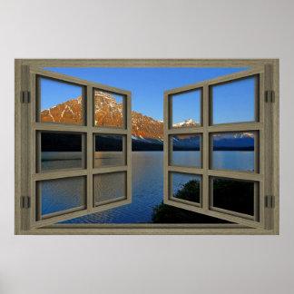 Poster de la ventana abierta del cristal del parqu