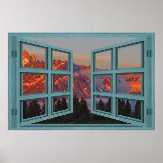 Poster de la ventana abierta del cristal del verde