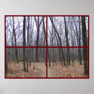 Poster de la ventana de maderas del invierno