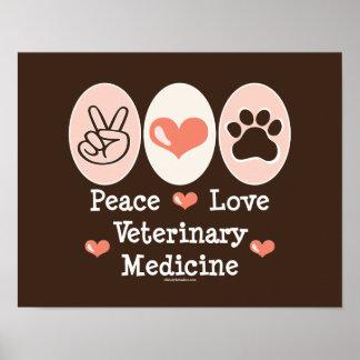 Poster de la veterinaría del amor de la paz