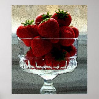 Poster de la vida de la fresa del efecto del arte
