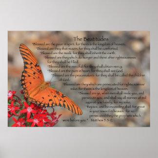 Poster de las beatitudes con la mariposa anaranja