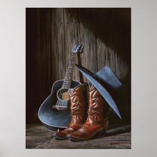 """Poster de las """"botas"""" de la música del condado"""
