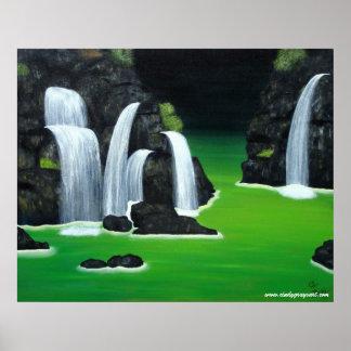 Poster de las cascadas - verde