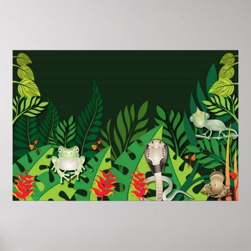 Poster de las criaturas de la selva tropical