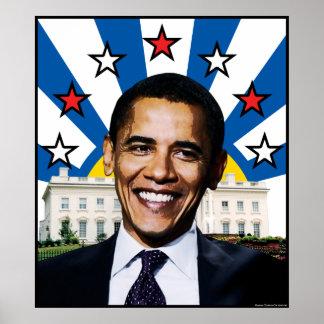 Poster de las estrellas y de las rayas de Barack O