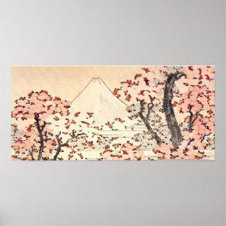 Poster de las flores de cerezo de Hokusai el monte