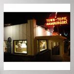 Poster de las hamburguesas del tema de la ciudad