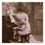 Poster de las lecciones de piano del vintage