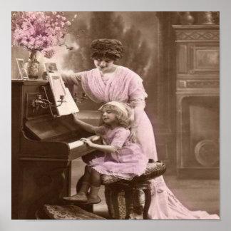 Poster de las lecciones de piano del vintage póster