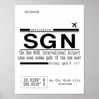 Poster de las letras de llamada del aeropuerto de