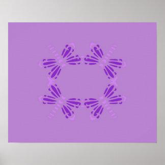 Poster de las libélulas en púrpura y color de malv