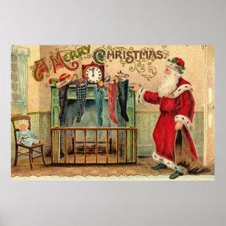 Poster de las medias del navidad del vintage