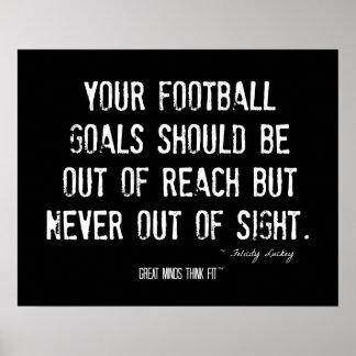 Poster de las metas del fútbol con cita
