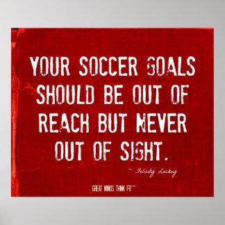 Poster de las metas del fútbol en el dril de algod