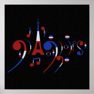 Poster de las notas musicales de París