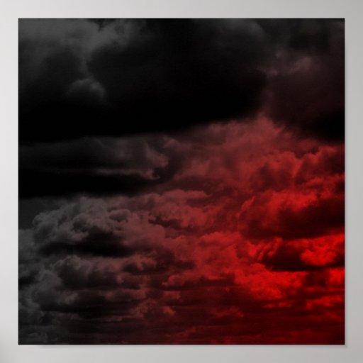 Poster de las nubes rojas y negras