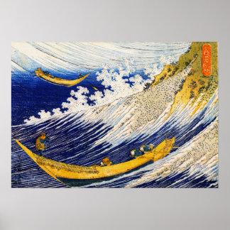 Poster de las olas oceánicas de Hokusai