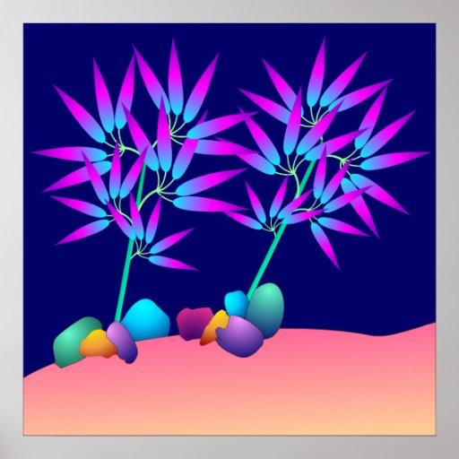 Poster de las plantas que brilla intensamente póster