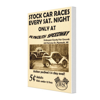 Poster de las razas de stock car del vintage en lo lienzo envuelto para galerías
