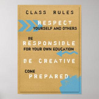 Poster de las reglas de clase (Customizeable) Póster