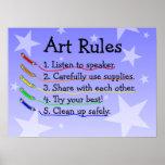 Poster de las reglas de clase de arte