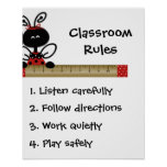 Poster de las reglas de la clase del profesor