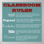 Poster de las reglas de la sala de clase de 5 p