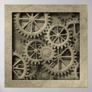 Poster de las ruedas dentadas de Steampunk Póster
