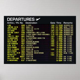 Poster de las salidas del aeropuerto