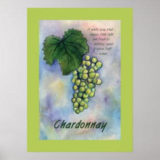 Poster de las uvas de vino de Chardonnay