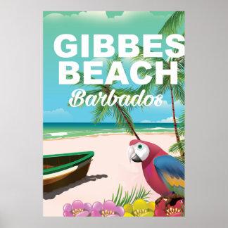 Poster de las vacaciones de Barbados de la playa