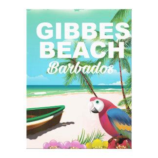 Poster de las vacaciones de Barbados de la playa Impresiones En Lienzo Estiradas