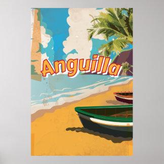 Poster de las vacaciones del vintage de Anguila