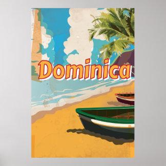 Poster de las vacaciones del vintage de Dominica