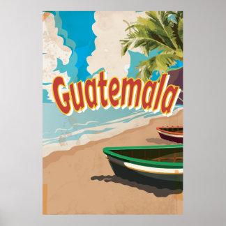 Poster de las vacaciones del vintage de Guatemala