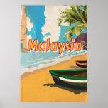 Poster de las vacaciones del vintage de Malasia