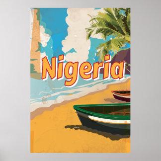 Poster de las vacaciones del vintage de Nigeria