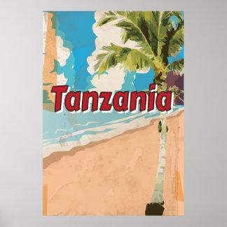 Poster de las vacaciones del vintage de Tanzania