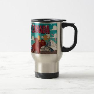 Poster de los alces del vintage del dibujo animado taza de viaje