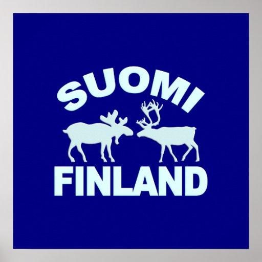 Poster de los alces y del reno de Finlandia